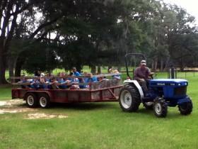 Rhett giving the kids a hayride