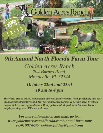 Flyer for Golden Acres Farm Tour 2016
